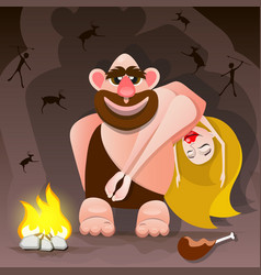 cavemen family vector image