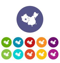china flag icons set flat vector image