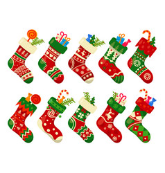 christmas socks and gifts new year xmas stockings vector image
