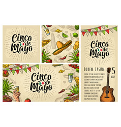 cinco de mayo lettering and mexican traditional vector image