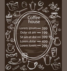 coffee house chalkboard menu with a central oval vector image