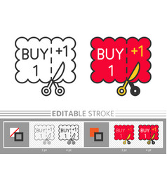 coupon buy one get one editable stroke line icon vector image