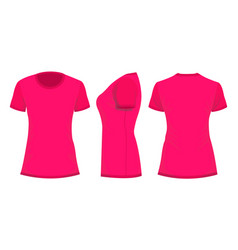 Crimson pink womans t-shirt in back front and vector