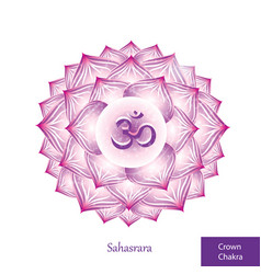 Crown chakra sahasrara glowing chakra icon vector