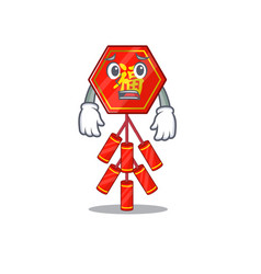 Cute chinese firecracker character smiley vector