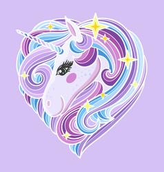 cute rainbow unicorn with a long mane vector image