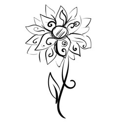 Dahlia sketch on white background vector