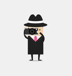 detective with camera detective spies vector image