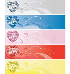 diamond heart banners vector image