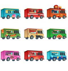 Different food truck designs vector