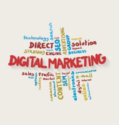 Digital marketing word cloud in colors vector