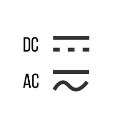 Direct and alternating current dc and ac symbol vector