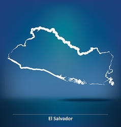 Doodle Map of El Salvador vector image
