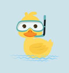 duck snorkeling in water vector image