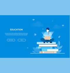 education - flat design style colorful web banner vector image