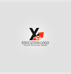 Education logo template with x letter logo vector