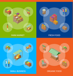 farm local market banner set 3d isometric view vector image