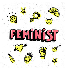 Feminist card feminist hand drawn inscription and vector