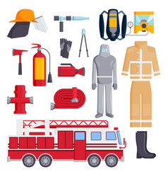 Firefighter elements coloured fire department vector