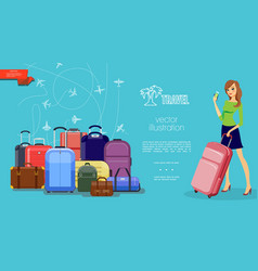 flat travel colorful template vector image