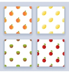 Fruit seamless pattern set icons flat design line vector