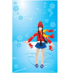 Girl on skating rink vector image