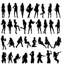Girls silhouette set in black color vector