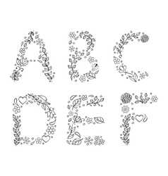 hand drawn letters on white background vector image