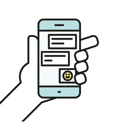 hand holding smartphone chatting linear icon line vector image