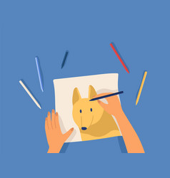 Hands creating artwork - drawing cute funny dog vector