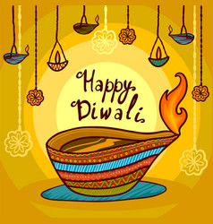happy india diwali concept background hand drawn vector image