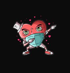 Heart dabbing love vector