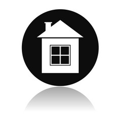 home icon round black icon a resedential house vector image