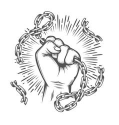 Human fist with broken chain tattoo vector