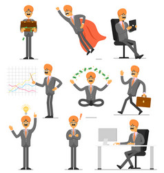indian businessman character isolated set vector image
