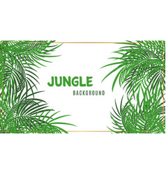 jungle background green tropical palm leaves vector image
