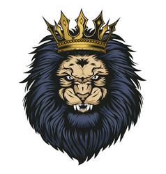 Lion head crown angry animal wildlife vector