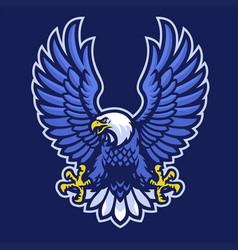 mascot logo blue bald eagle vector image