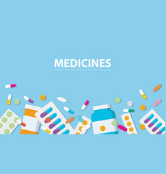 medicines drug collection with banner free space vector image