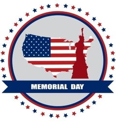 Memorial day of america usa map with statue of vector