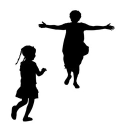 mother silhouette with open arms running to a vector image