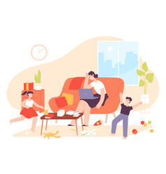 mother work from home hyperactive kids and tired vector image