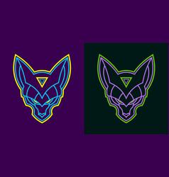 neon wolf head vector image