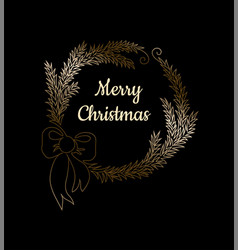 one line christmas wreath from fir tree branches vector image