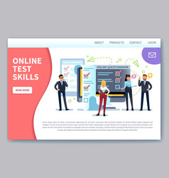 online testing landing page internet surveying vector image
