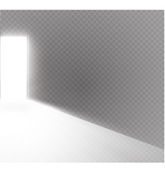 Open the door in a dark room with light passing vector