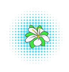 Orange flower icon comics style vector image