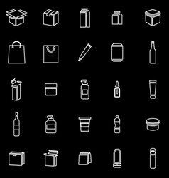 Packaging line icons on black background vector