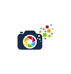 pixel camera logo icon design vector image