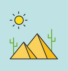 Pyramid in desert filled outline icon vector